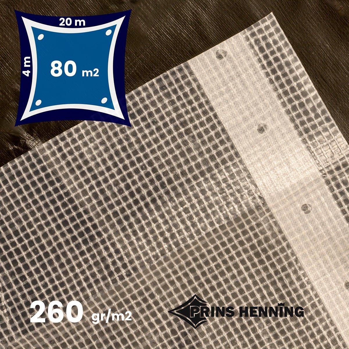 Armeret gennemsigtig presenning, 4x20 meter, 260 gr/m2