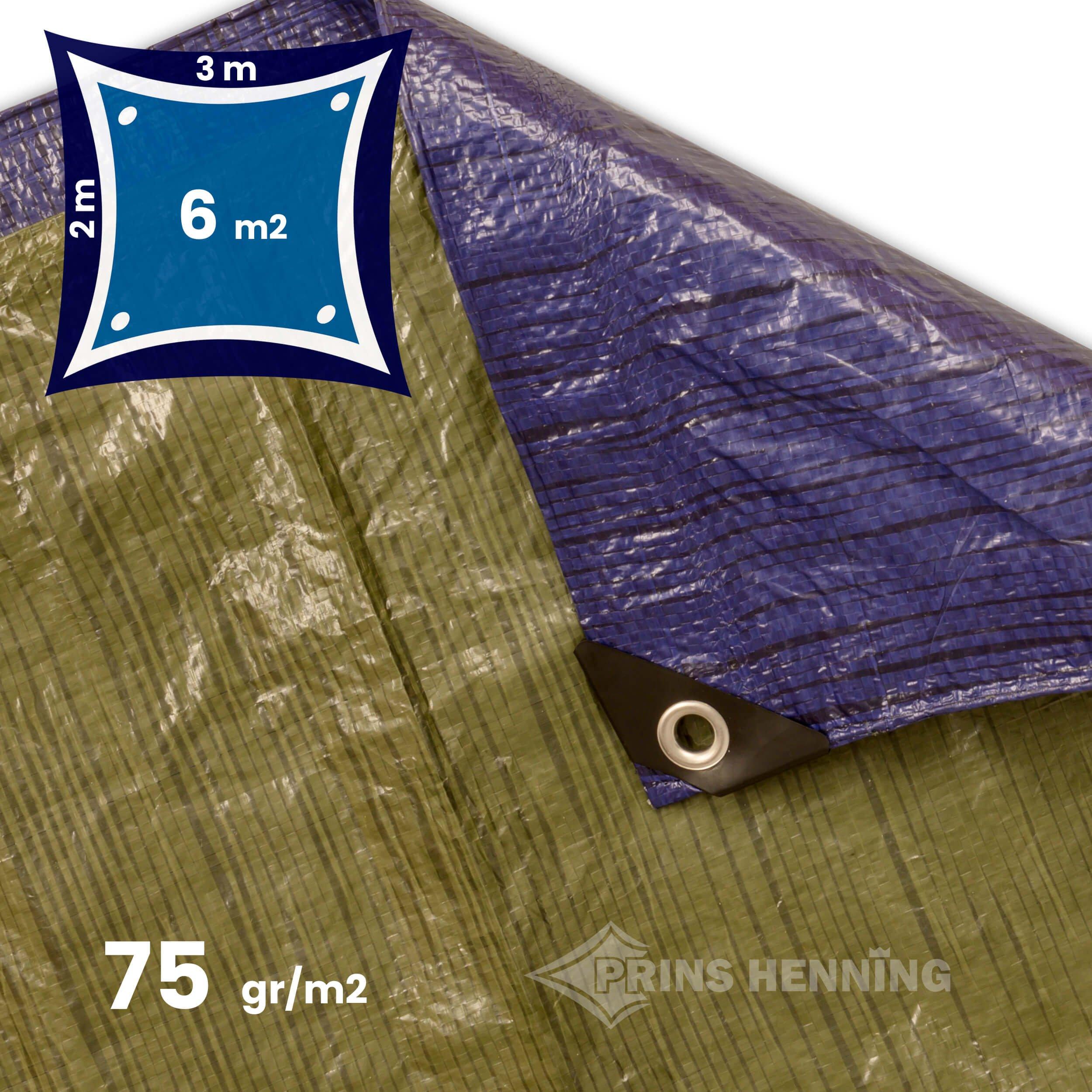 Billig presenning, 2x3 meter, blå/grøn, 75 gr/m2 (letvægt)