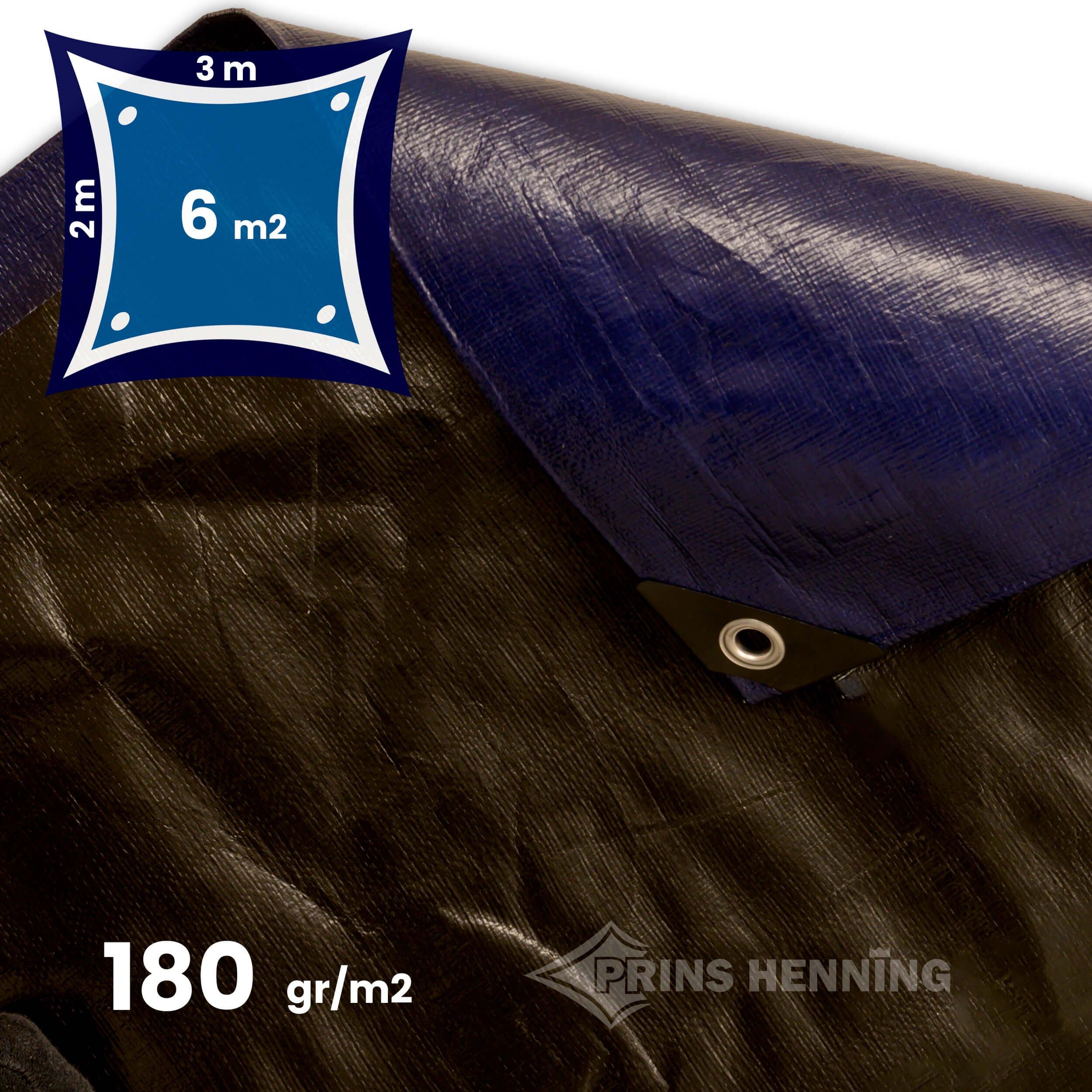 Ultra Stærk presenning, 2x3 meter, blå/sort, 180 gr/m2