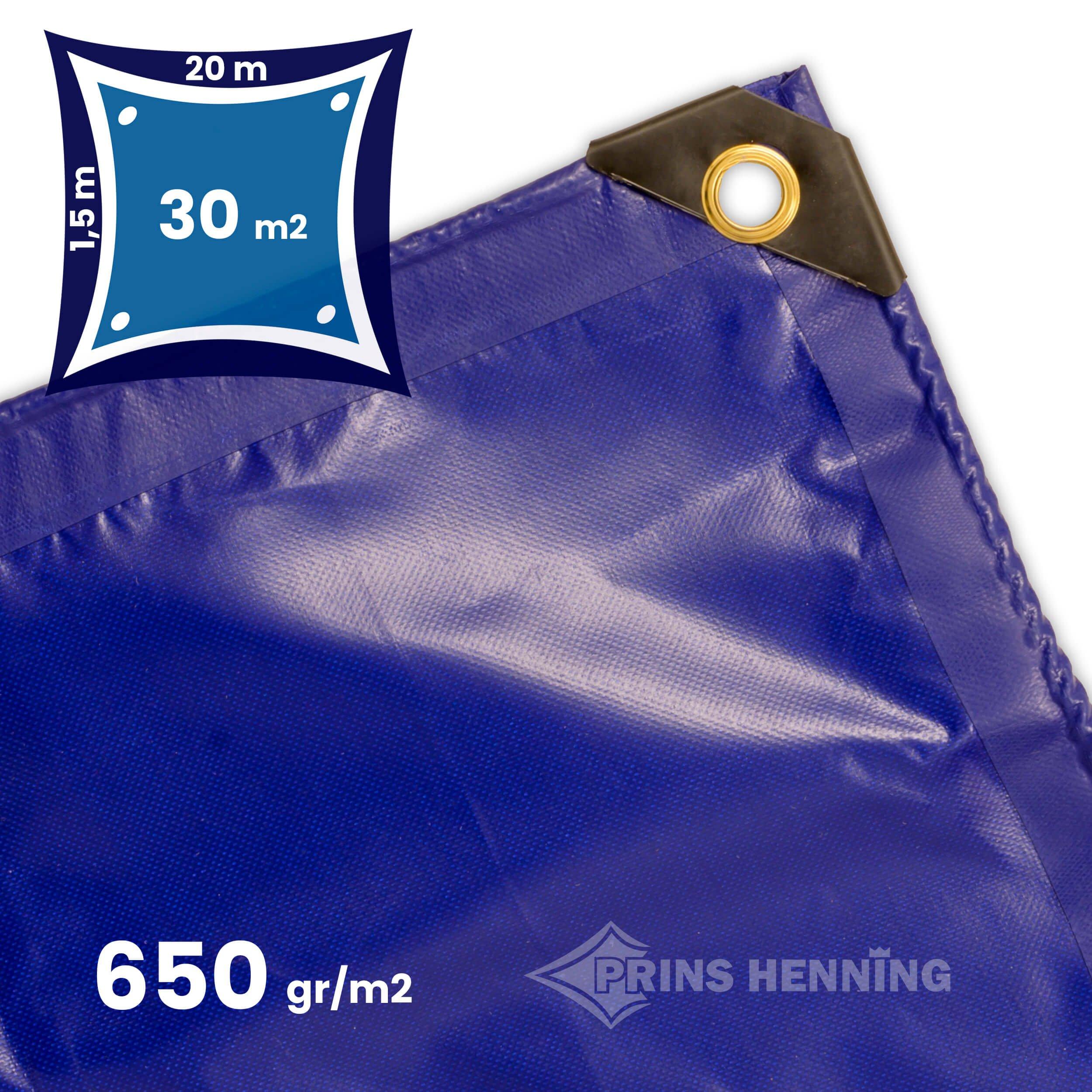 Professionel  presenning, 1,5x20 meter, blå, kraftig kvalitet, 650 gr/m2