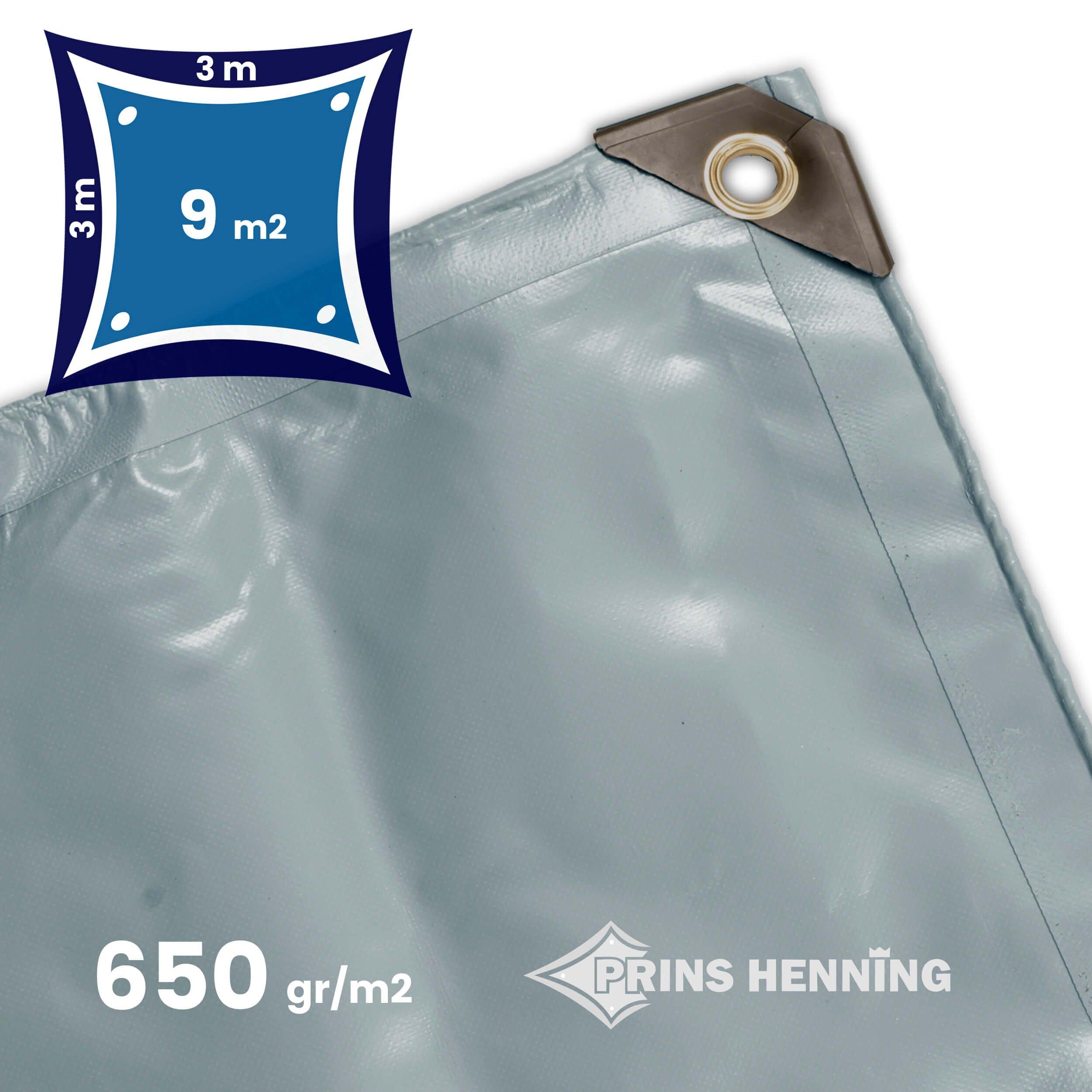 Professionel  presenning, 3x3 meter, grå, kraftig kvalitet, 650 gr/m2