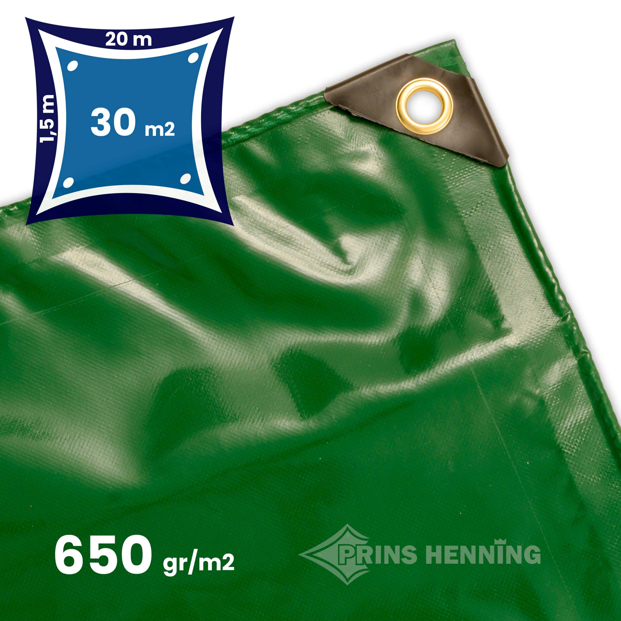 Professionel  presenning, 1,5x20 meter, grøn, kraftig kvalitet, 650 gr/m2