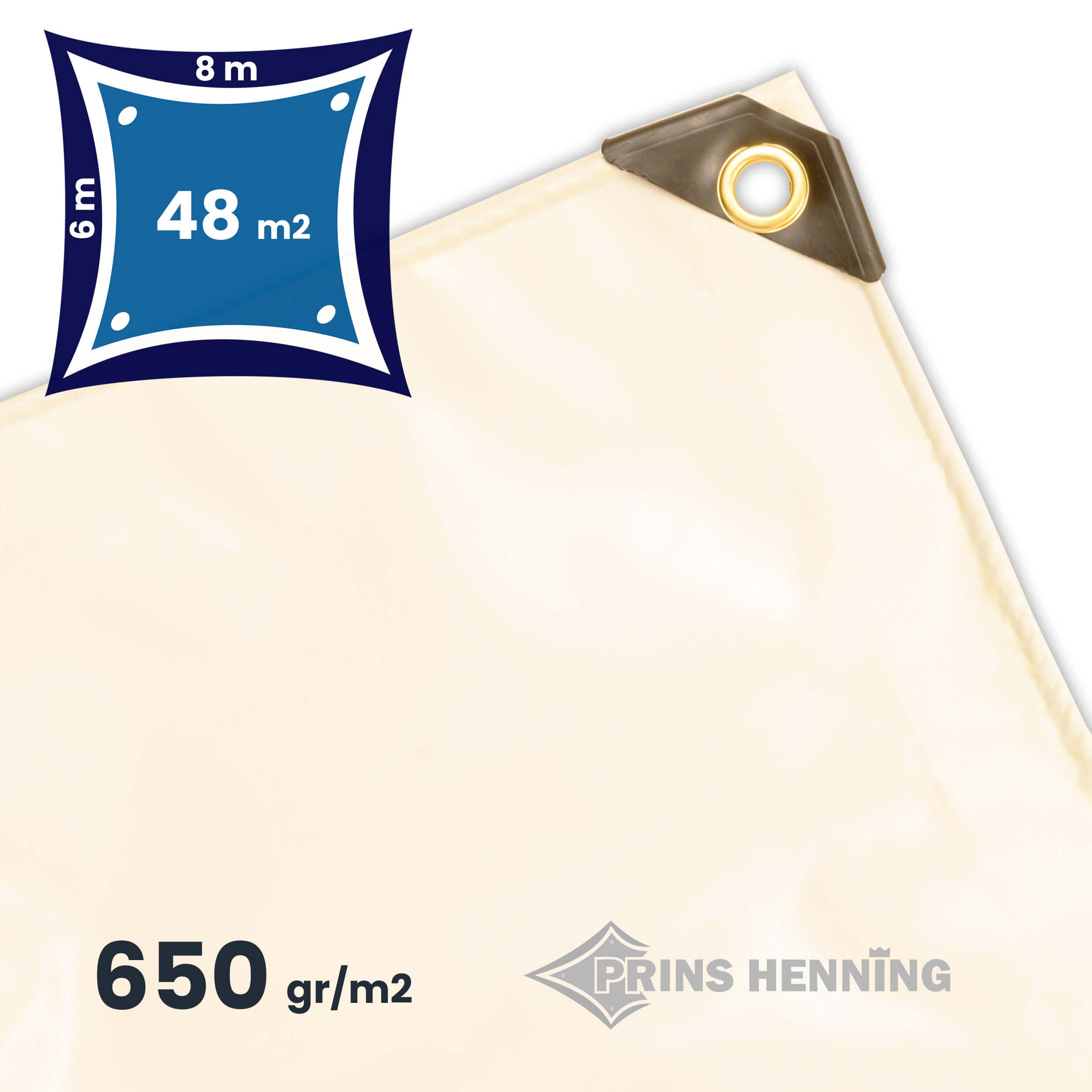 Professionel  presenning, 6x8 meter, hvid, kraftig kvalitet, 650 gr/m2