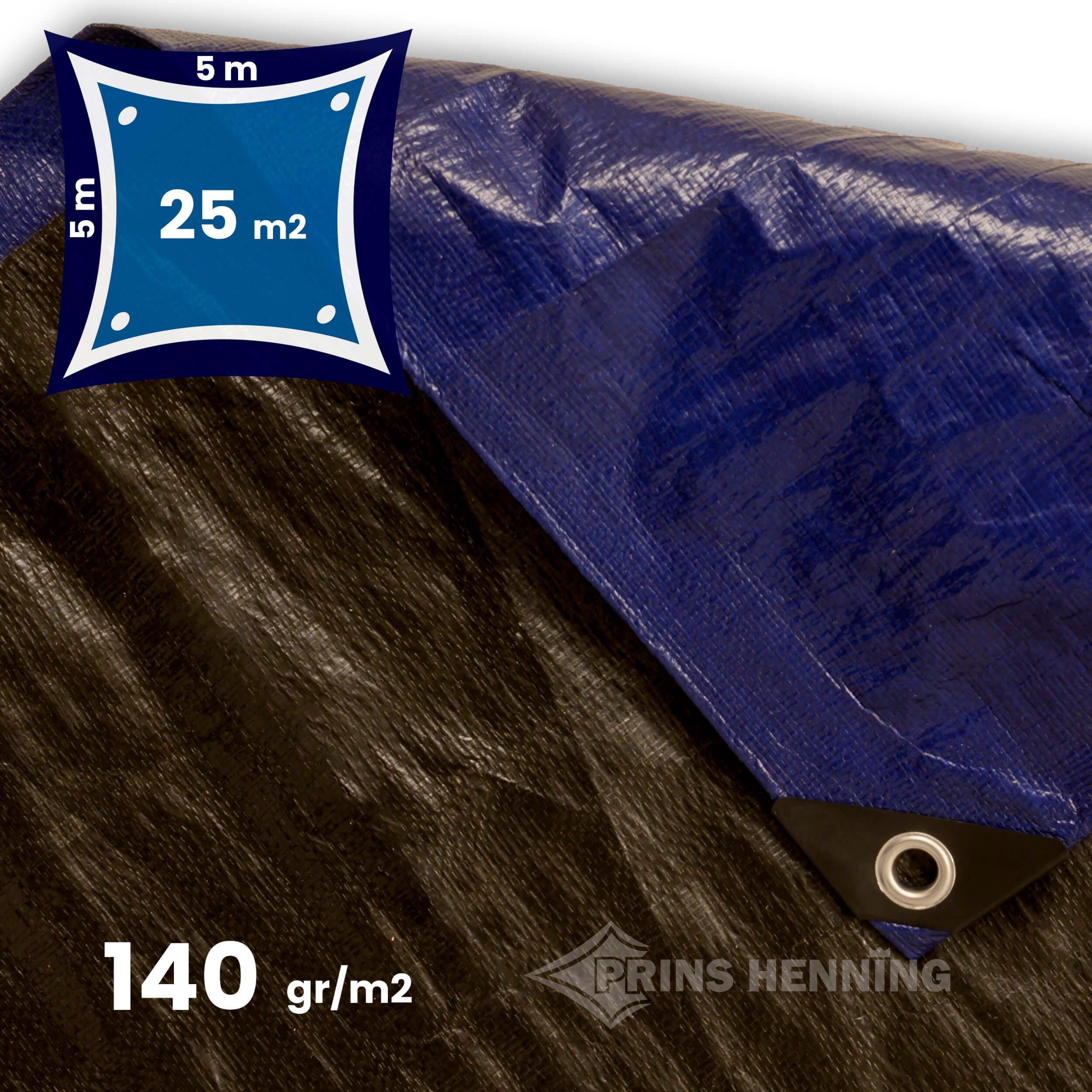 Stærk presenning, 5x5 meter, blå/sort, 140 gr/m2